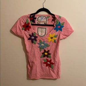 Pink T-shirt with Hand Embroidered Flowers